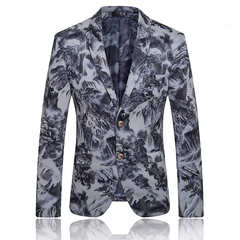 2017 Blazer Men Stage Costumes For Singers Mens Floral Blazer ...