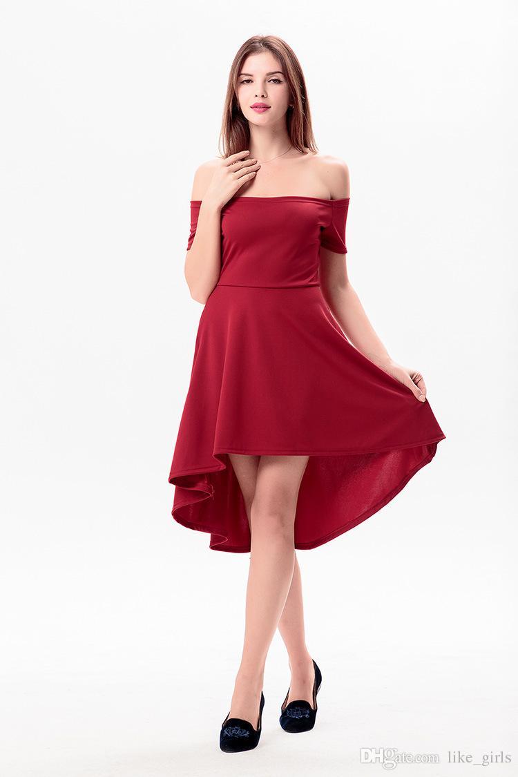 Abiti in stile stradale A ++ da donna Irregolar Sexy Sexy Slim Breve - Cucitura a maniche corte Vestito a colori solido LX019