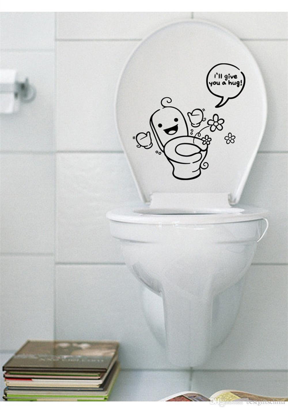 Closestool Lid Cartoon Decoration Waterproof Toilet Sticker Funny Bathroom  Wall Stricker Wall Stickers Home Decor Vinyl Pvc Decals For Wall Decals For  Walls ...
