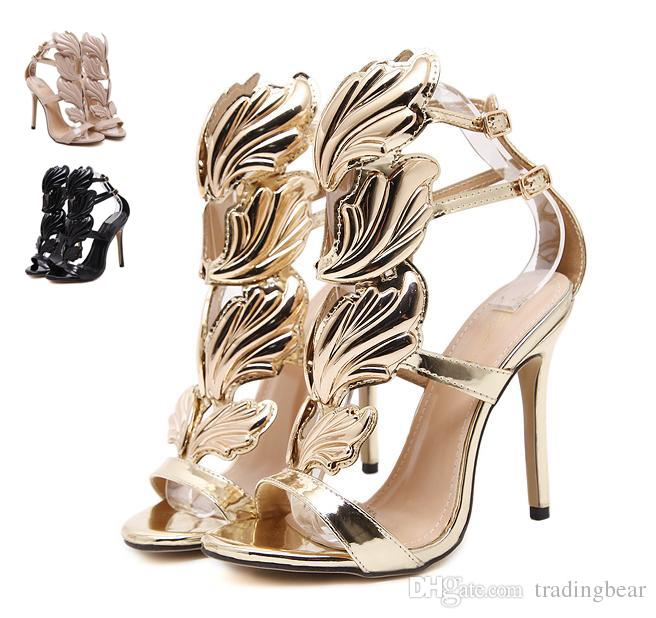 Flame Metal Leaf Wing High Heel Sandals Gold Nude Black Party Events Shoes  Size 35 To 40 Shoes For Men Womens Shoes From Tradingbear ee7370fe5a89