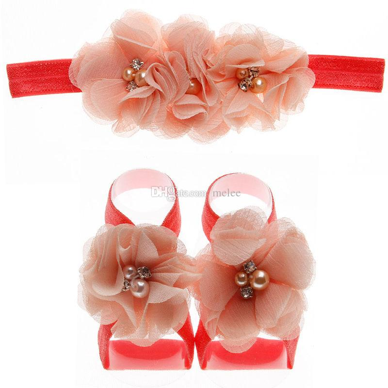 Multicolor Fashion Newborn Baby Girls Lace Hair Band + Barefoot Sandals Foot Flower Pearl Headband Over choose free ship