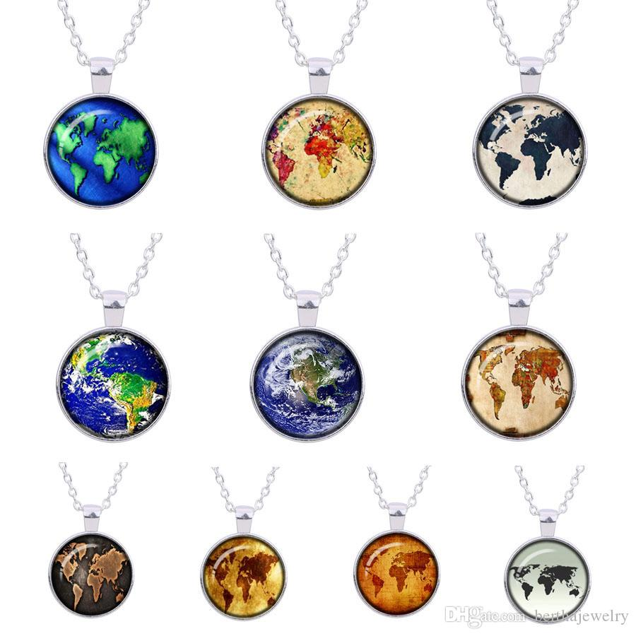 Wholesale the earth pendant retro vintage world map necklace silver wholesale the earth pendant retro vintage world map necklace silver plated universe jewelry space pendant planet colar wedding gifts pendant necklaces uk freerunsca Gallery