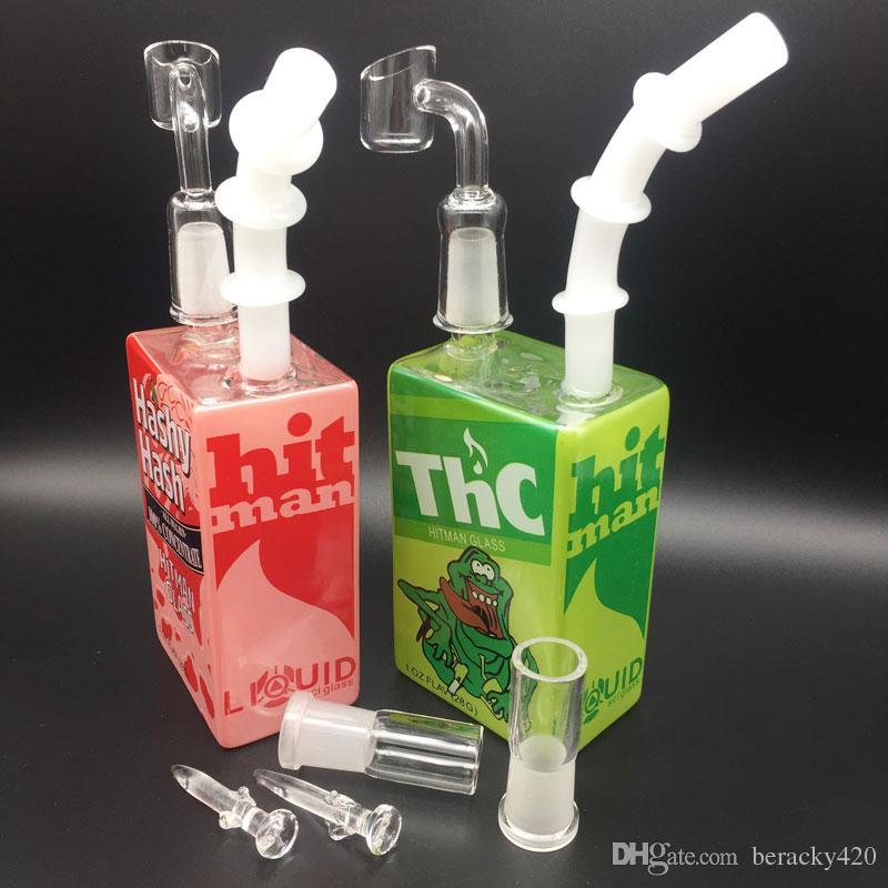 Jus en verre Boîte Dab Huile Rigs Bong 7.5 Pouces Liquide Sci Verre Verre Boîte De Céréales Tuyaux Avec 2mm quartz banger