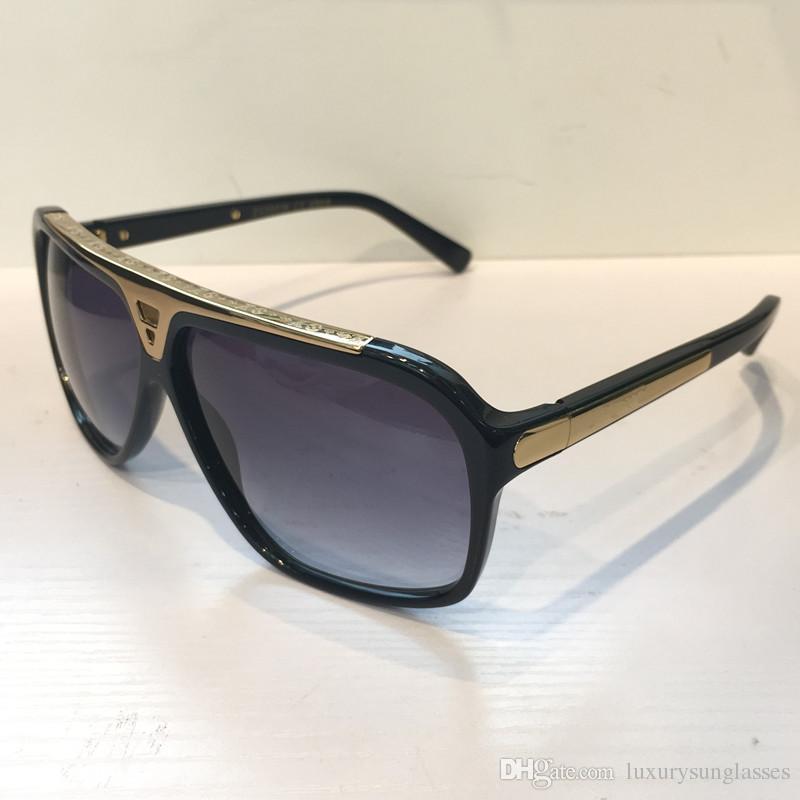 Evidence Luxury Millionaire Occhiali da sole Retro Vintage Men Designer Occhiali da sole in oro lucido stile estivo Logo laser placcato in oro Z0350W