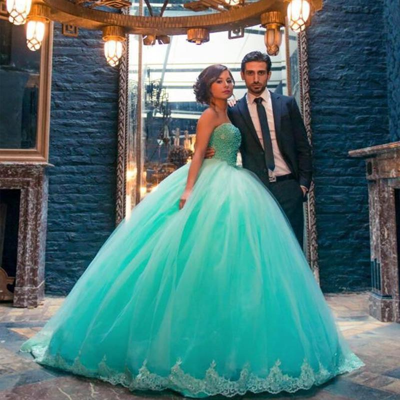 Ful Turquoise Ball Gown Wedding Dress Sweetheart Sleeveless Beaded ...
