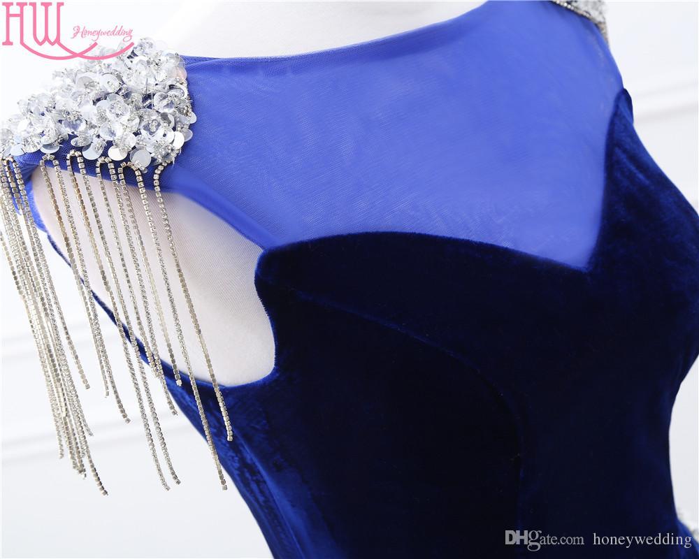 100% Real Photo Mermaid Kleider Abendgarderobe Navy Blue Cap Sleeves Perlen Shiny Sexy Günstige Prom Kleider Lange Auf Lager Formales Kleid Kleid