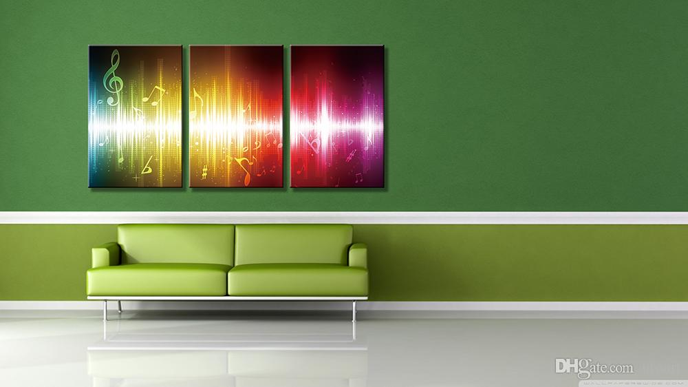 3 Panels Beating Music Notes Abstract Canvas Painting Home Decor Canvas Wall Art Picture Digital Art Print for Room Wall