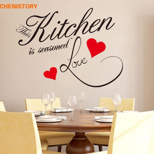 diy kitchen love red heart wall sticker restaurant removable