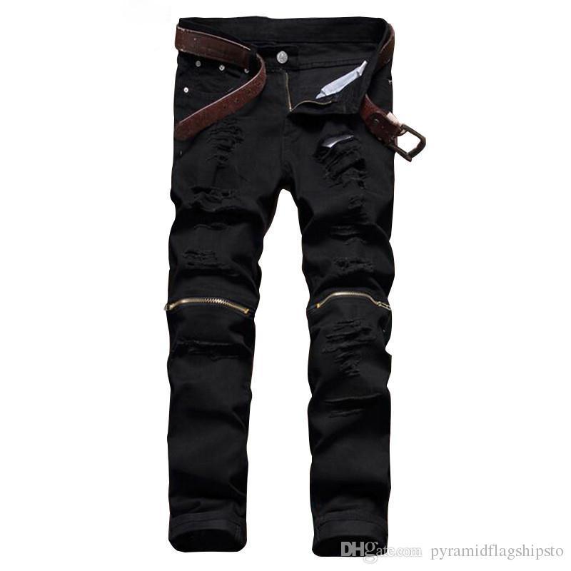 Satın Al Moda Erkek Siyah Yırtık Kot Pantolon Diz Fermuar Slim Fit