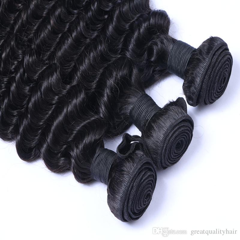 Clearance Sale Peruvian Brazilian Indian Malaysian Hair Extension Deep Wave 8-30 inch Human Hair Weft Natural Color Can Be Dyed Ombre Hair