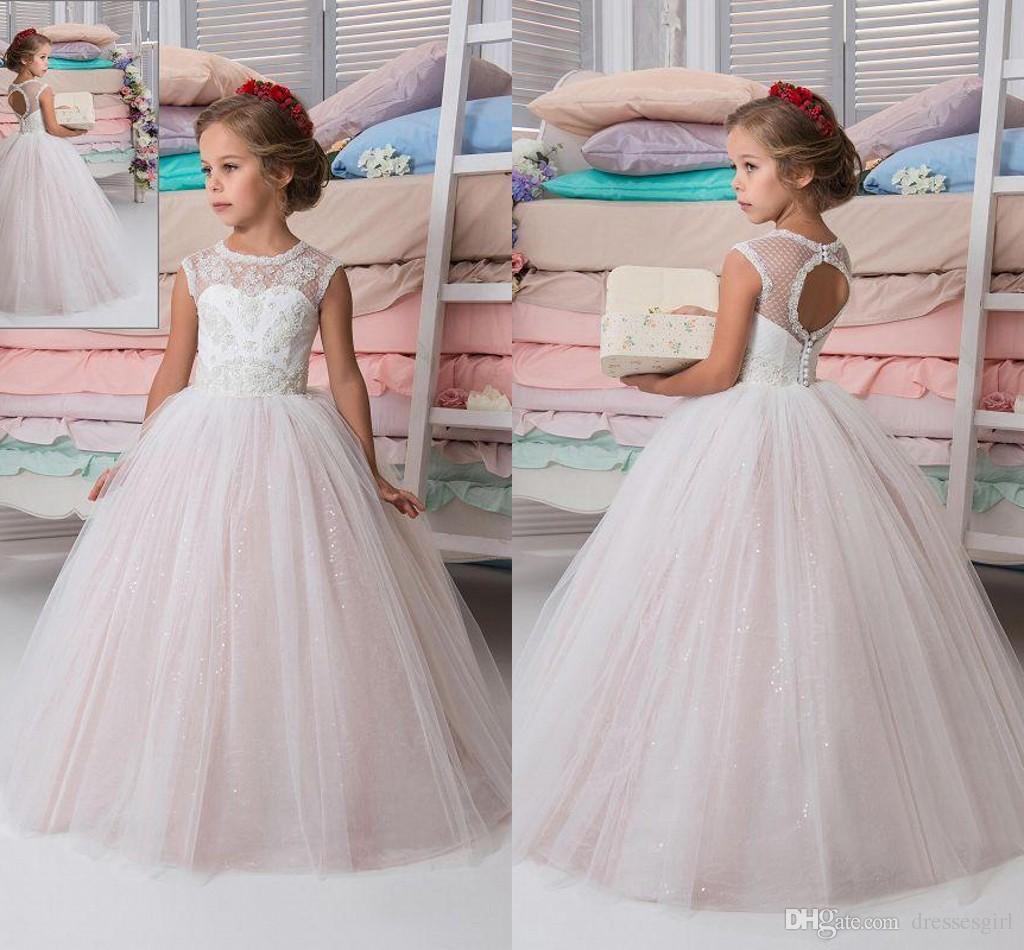 3c42a6e250de7 Custom Made Lovely Flower Girl Dresses for Wedding Blush Pink Princess Tutu  Sequined Appliqued 2018 Vintage Child First Communion Dress