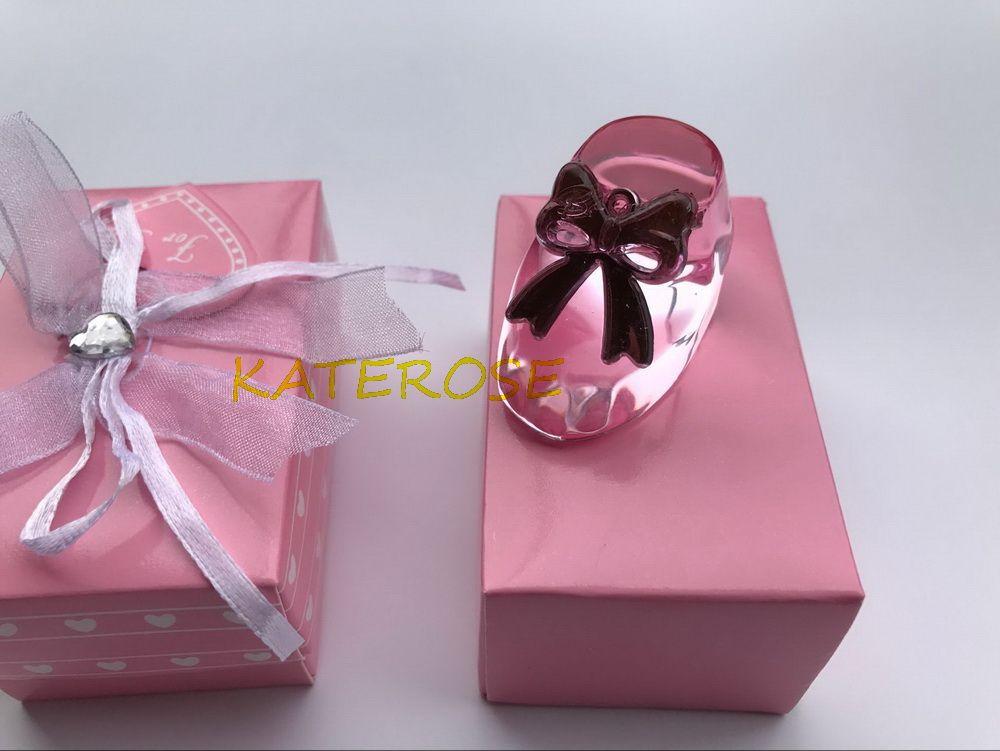 Pink Crystal Baby Bootie Keepsakes K9-Crystal Shoe Figurine Baby Girl Shower Favors Crystal Paperweight+
