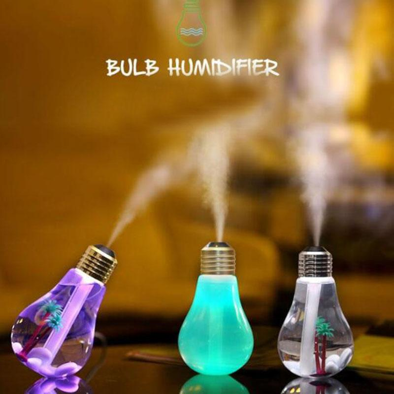 Life Plastic Humidifiers USB Lamp Bulb Humidifier Home Aroma LED Humidifiers Air Diffuser Purifier Car and Household Use Mute ABS