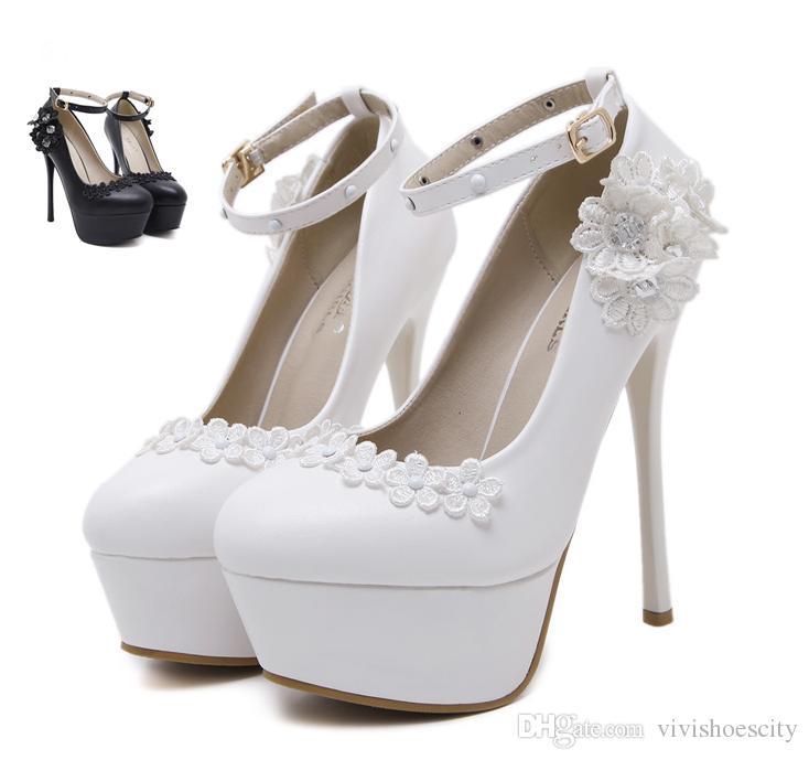 935ecd6d18f 14cm Adorable White Rhinestone Flower Bridesmaid Wedding Shoes ...