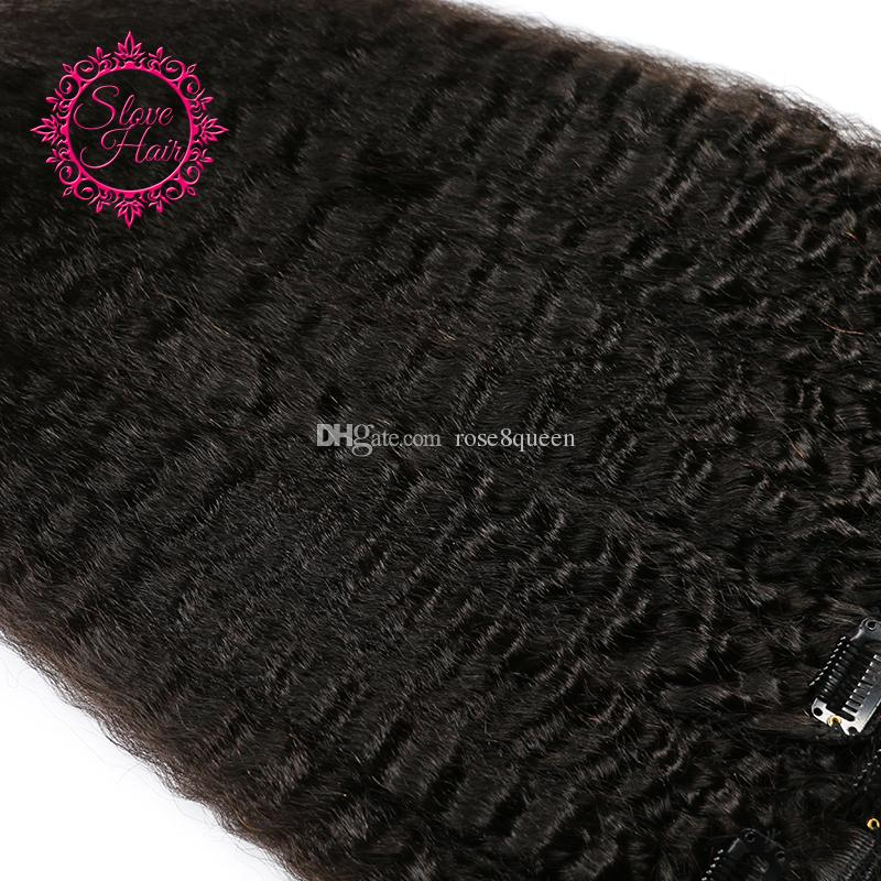 Choshim Slove Coarse Yaki Kinky Straight Clip In Hair Extensions 100% Brazilian Human Remy Hair And 120gNatural Color
