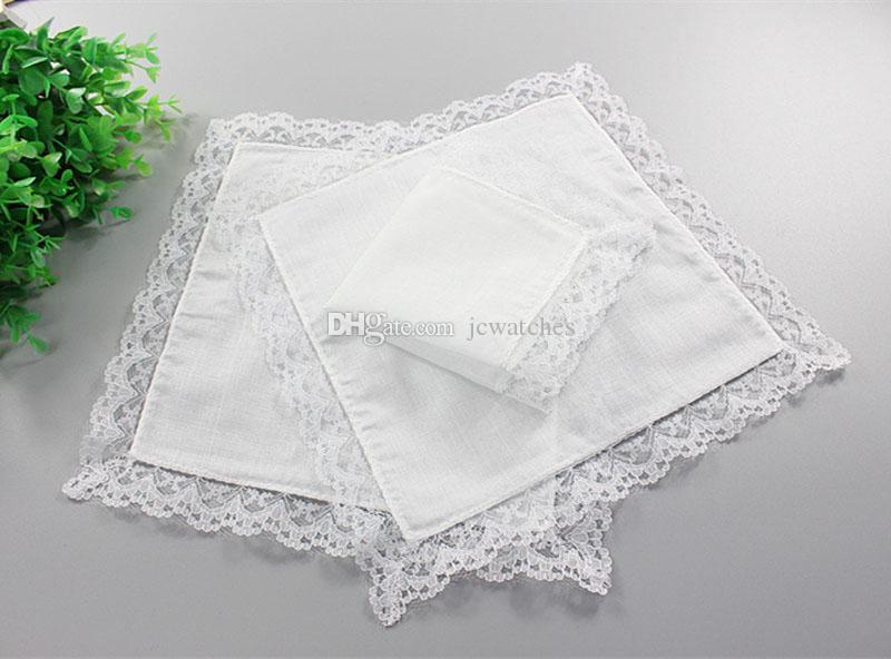 Lace Blanco Pañuelo delgado Pañuelo de la boda Regalos de boda Decoración de la fiesta Servilletas de tela Plazo en blanco DIY Handkerchief 25 * 25 cm