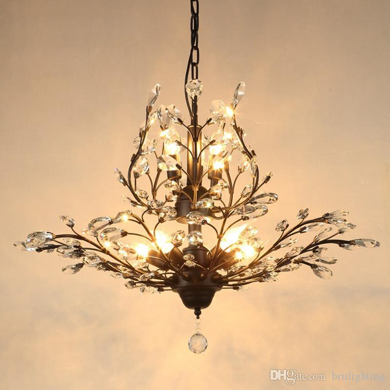 American Country Restaurant Crystal Chandelier European Style Led Bedroom Entrance Lamps Iron Living Room Stairs Chandeliers Candle