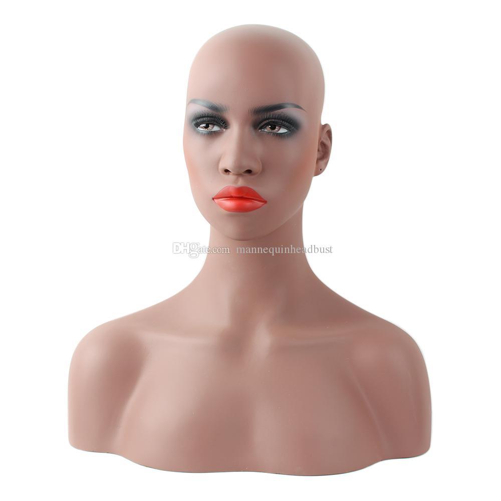 Realistische vrouwelijke zwarte afro-Amerikaanse fiberglas mannequin dummy hoofd buste voor kant pruik en sieraden display ems shipping