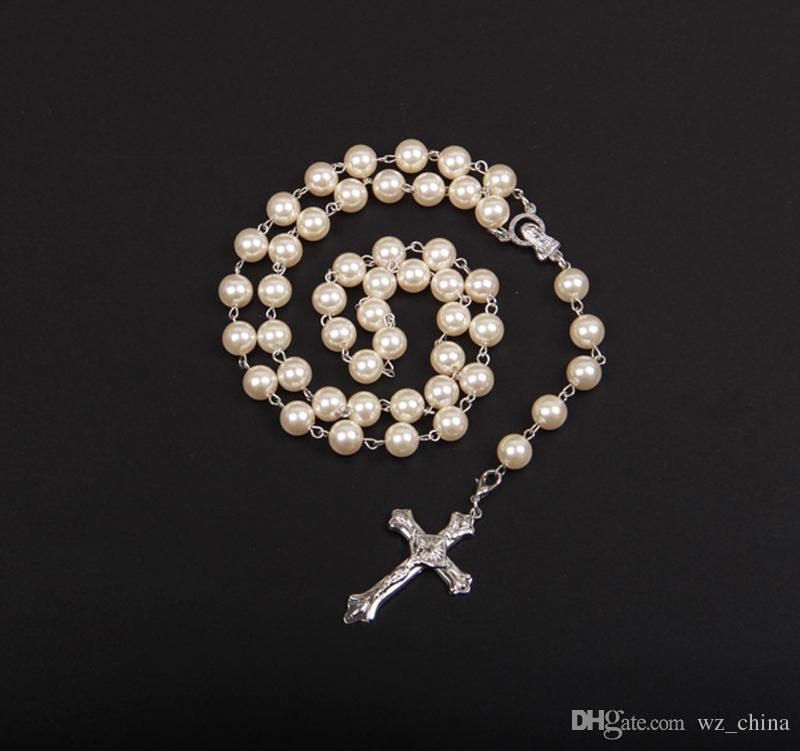 ブラック/ホワイトパールネックレスホワイトゴールドチェーンメンズ女性ロザリオビーズ6ミリメートル宗教クロスネックレスジュエリークリスマスプレゼント