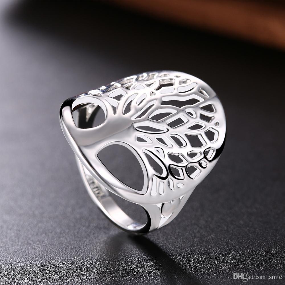 Fashion Tree of life Ring Classic Accessories 925 Sterling Silver Plated Hollow Life Tree Heart Rings For Women