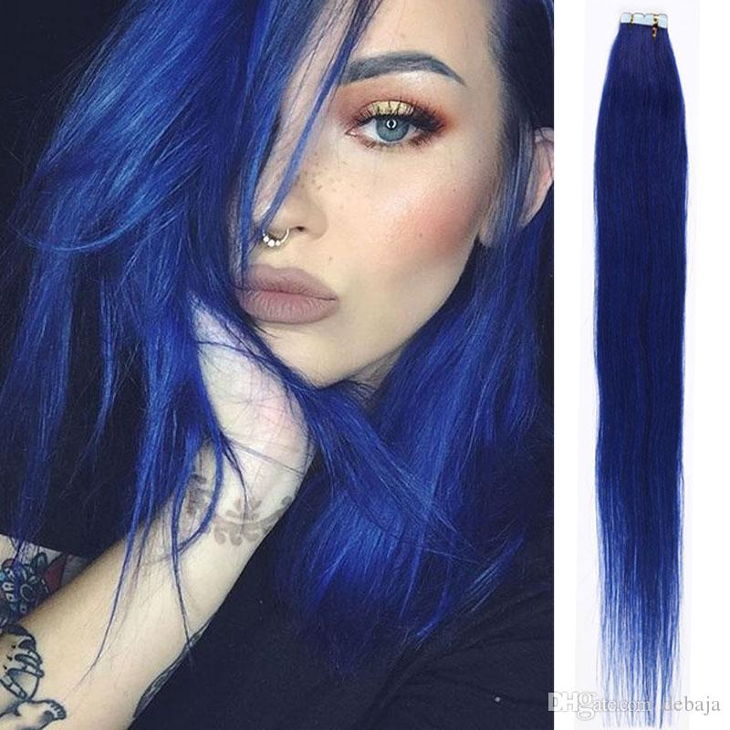 Straight tape in human hair extension brazilian dark blue straight see larger image pmusecretfo Image collections