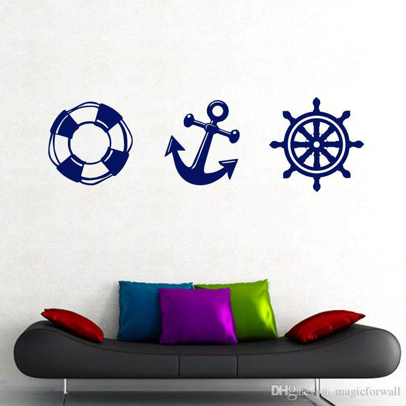 Life Buoy Anchor Rudder Wall Stickers Home Decor for Boys Girls Room Removable Sailor Fan Window Glass Decorative Wallpaper Art