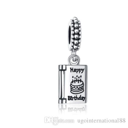 3e082a0af 2019 Fashion 925 Silver European Charm Beads Happy Birthday Cake Dangle  Pendant Bead Fit Women Pandora Bracelet Bangle Diy Jewelry Necklace From ...