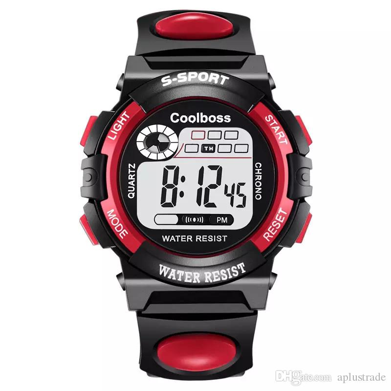 Coolboss Mode Kinder Kinder Multifunktions LED Digitaluhr Licht Wecker Kalender Sport Armbanduhren Studenten Uhren