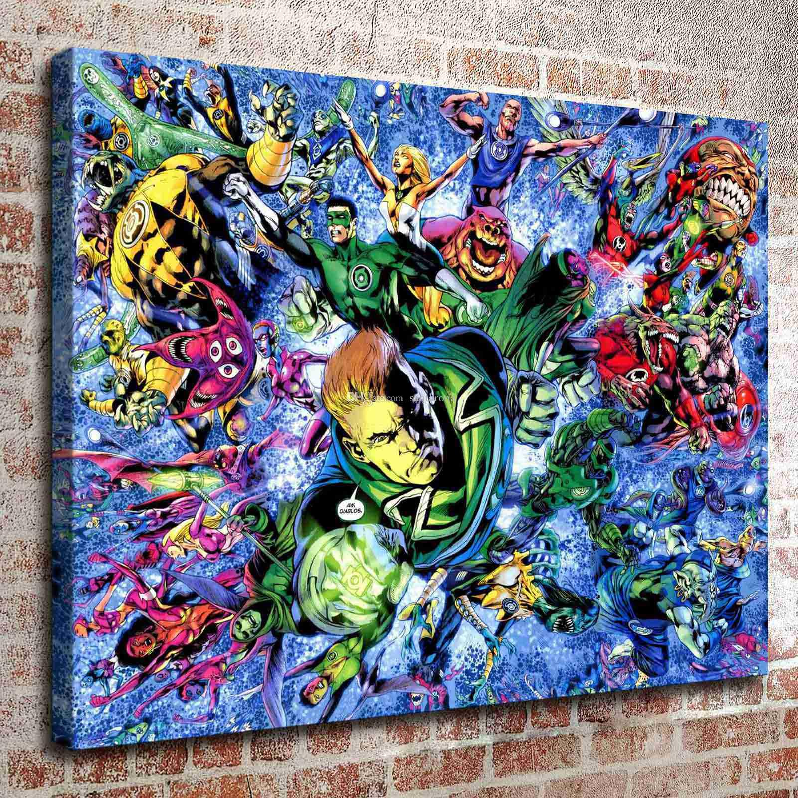 2018 No Frame Green Lantern Five Hd Canvas Print Wall Art Oil Painting Pictures Home Decor Bedroom Living Room Kitchen Decoration From Santarona ...  sc 1 st  DHgate.com & 2018 No Frame Green Lantern Five Hd Canvas Print Wall Art Oil ...