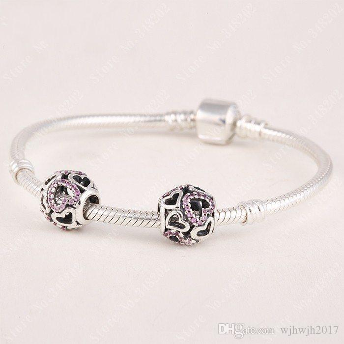 Valentine's Day Authentic 925 Sterling Silver Falling In Lover Openwork Hearts Charm Beads With Red CZ Fine Jewelry Fit DIY Bracelet Making