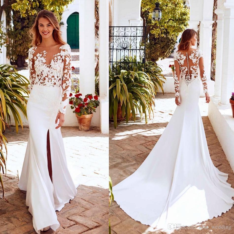 Sexy Split Wedding Dresses Mermaid Long Marriage Gown For Brides Sheer  Scoop Neckline Vestido De Novia Boho Style Illusion Back Lace Wedding Dress  Patterns ... f0cdd5404205