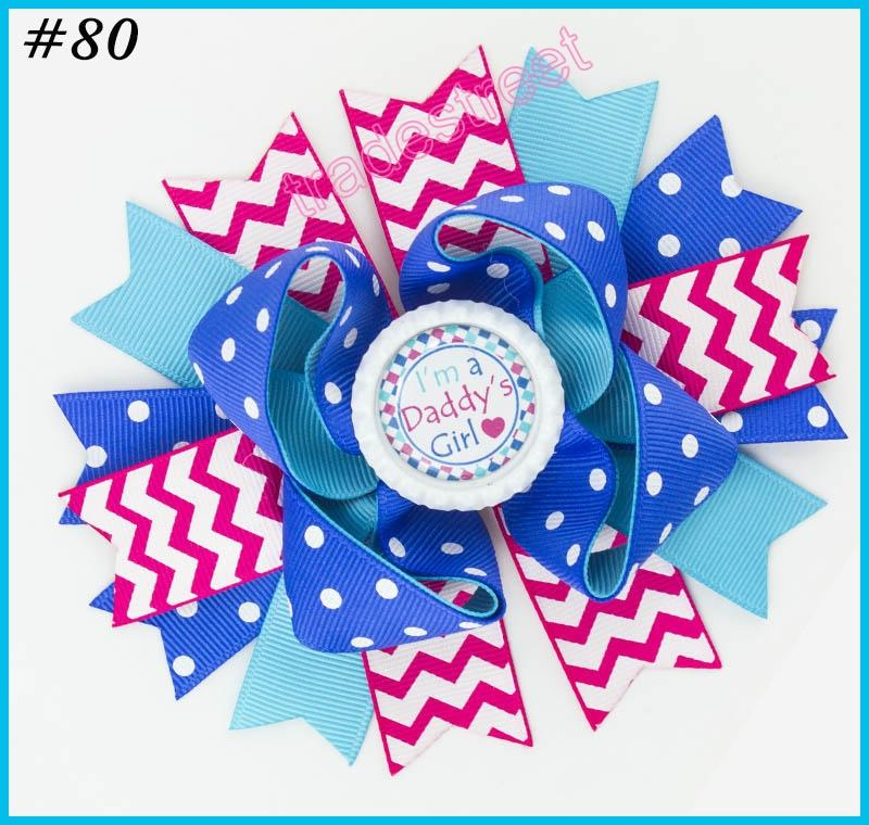 5'' 2017 newest character hair bows school bows Patriotic Bow inspired hair clips fashion girl hair accessories
