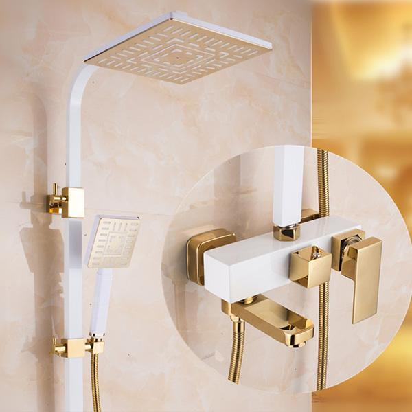 antique brass shower faucet included hand shower rainfall brass painting mixer taps two handles and three holes hot and cold faucets from - Shower Faucets