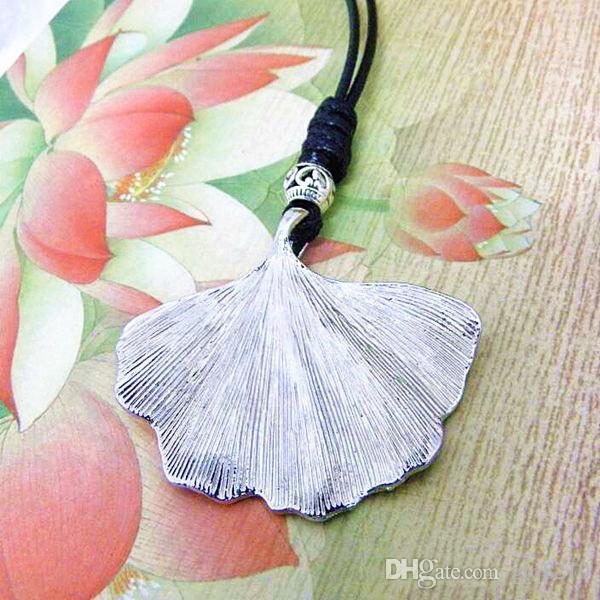Tibétain Argent feuille de Ginkgo biloba collier pendentif longue chaîne chandail Vintage prix usine des femmes de personnalité