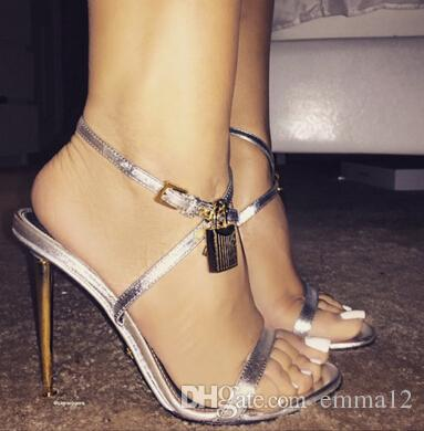 2017 Hot Sale Sexy Women Summer Open Toe Gold High Heel sandals Lock Ankle Strappy Strap Celebrity Shoes Gladiator Sandals