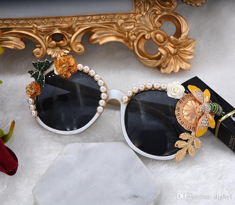 Barok Güneş Gözlükleri Yuvarlak Tam Çerçeve Vintage Çiçek Gözlük Açık Yaz Tarzı Plaj Gözlük Tam Çerçeve Kadın Modası Inci Güneş Gözlüğü