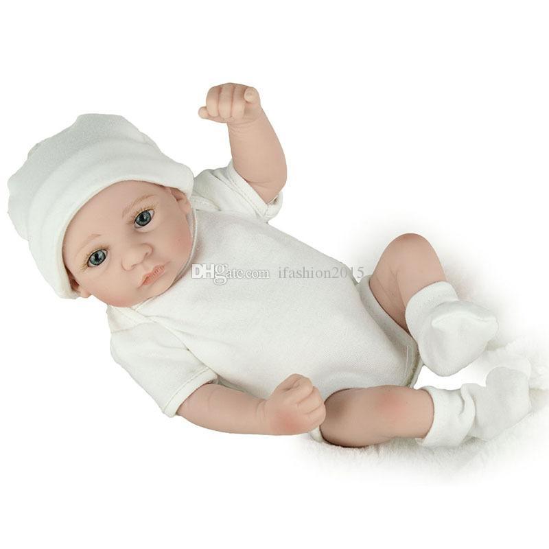 28cm Eye Opened Realistic Reborn Baby Doll Soft Silicone Vinyl Newborn Baby Boy Kids Childred Birthday Present Gift Toy