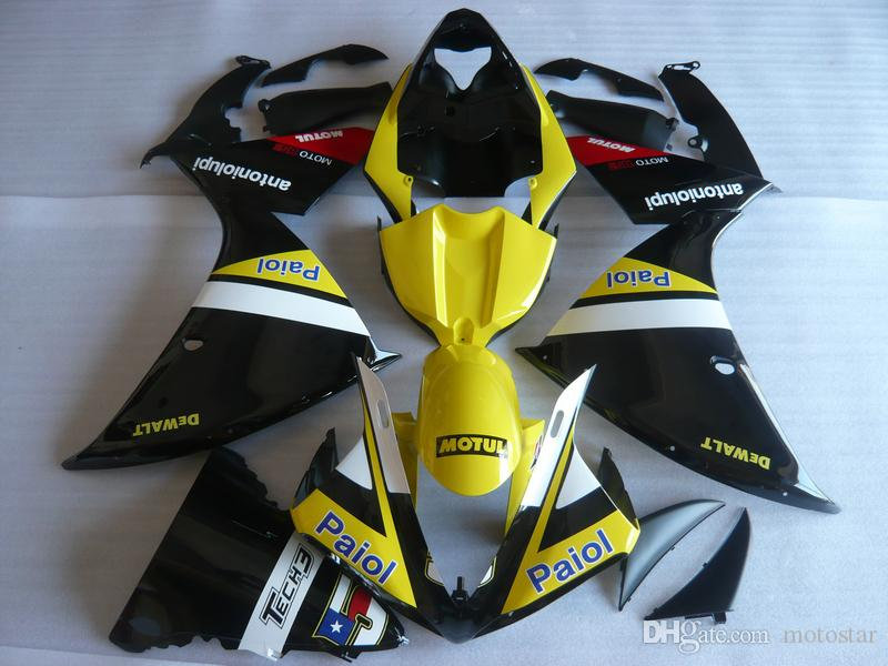 Injection mold plastic fairing kit for Yamaha YZF R1 09 10 11-14 yellow black fairings set YZF R1 2009-2014 OY07