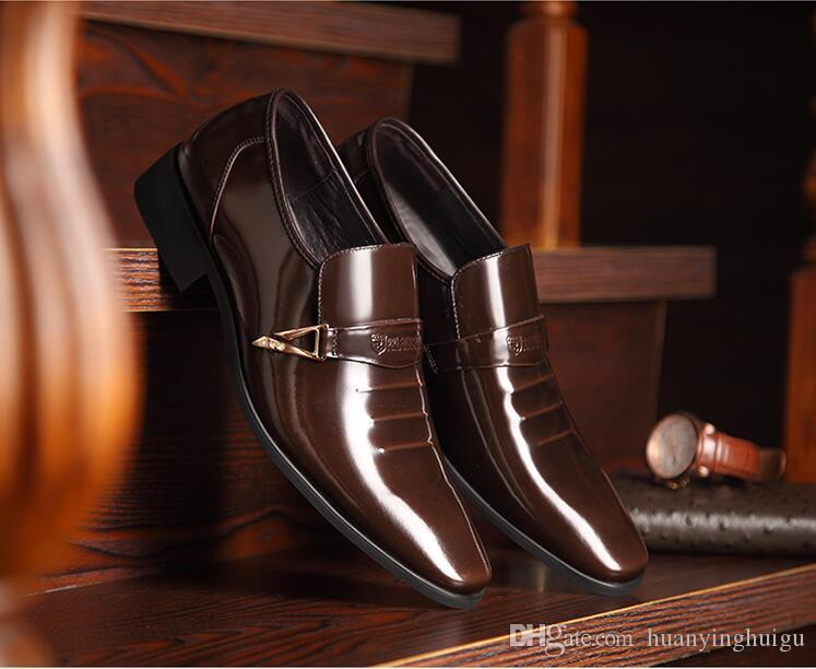 New style Fashion Designer Classic Office Suit Men Dress Shoes Genuine Leather Black Brown Italian Formal Oxfords Wedding Shoes GX11