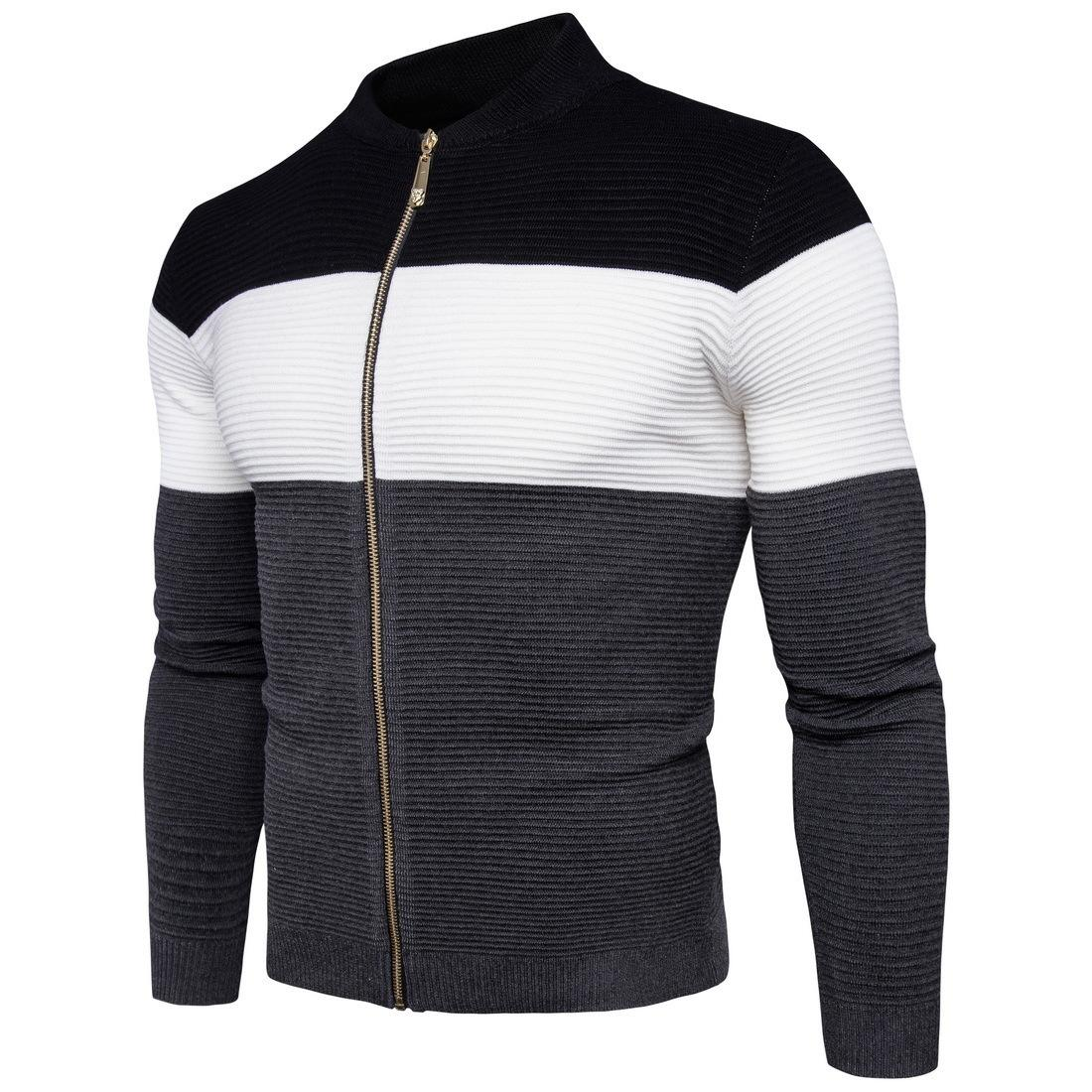 2018 Cardigan Sweaters Men Thicken Knitwear Cheap Stand Collar ...