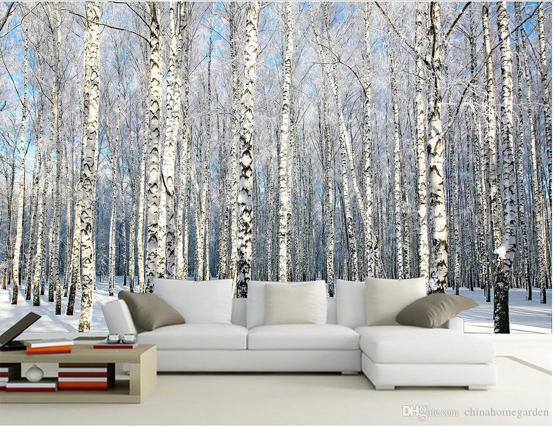 Custom any size birch forest snow scene tv wall mural 3d wallpaper 52 amipublicfo Gallery