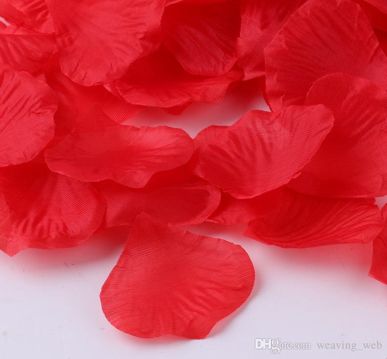 Artificial Flowers Rose Petal / SET Artificial planta falso Red Flowers Decoração do casamento Pétala