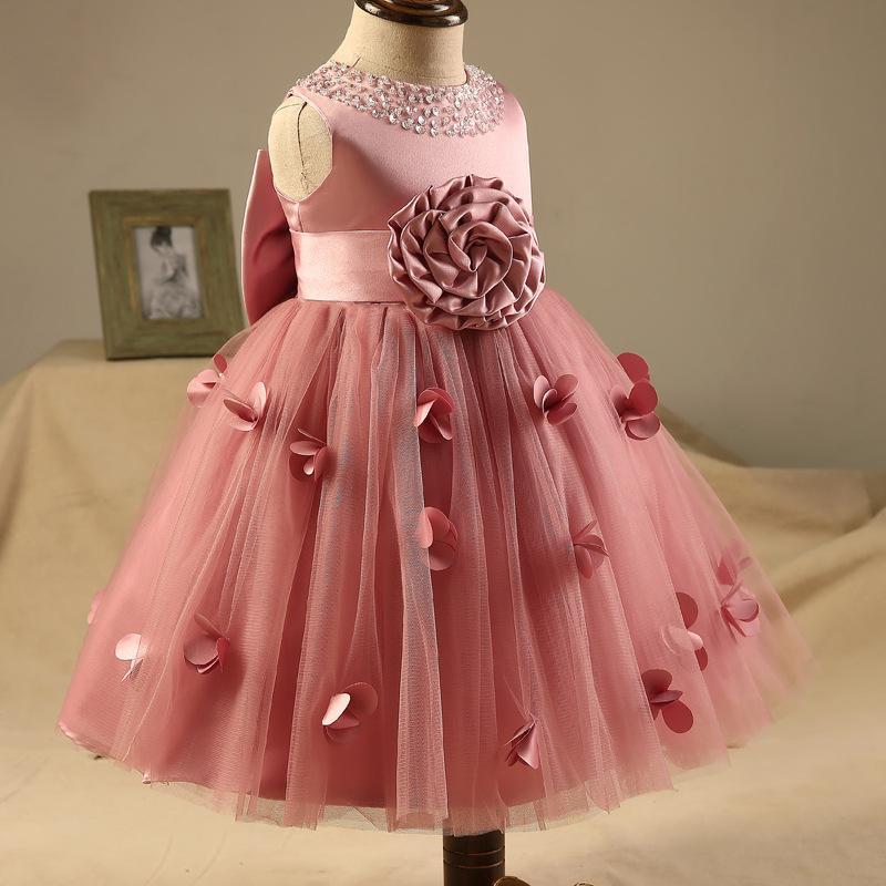 Flower Girls' Dress Blush Lace Sleeveless Sequin Bow Ball Gown Beads Sequin Little Girl Birthday Party Dresses Evening Dress KD003