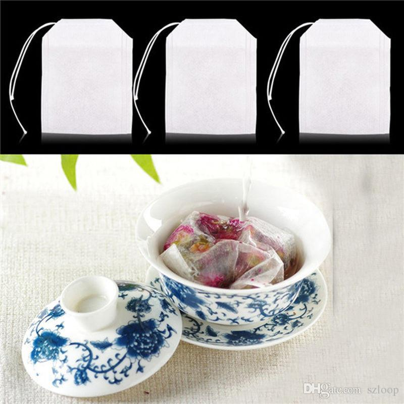 Teabags 5.5 x 7CM Empty Drawstring Tea Bags Heal Seal Filter Paper for Herb Loose Tea Non-weawon Fabric