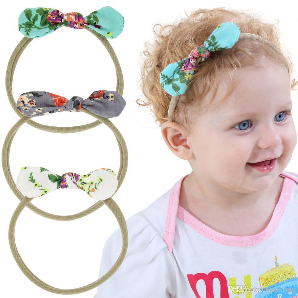 New Baby Headbands Bunny Ear Elastic Flower Headband Children Kids ...