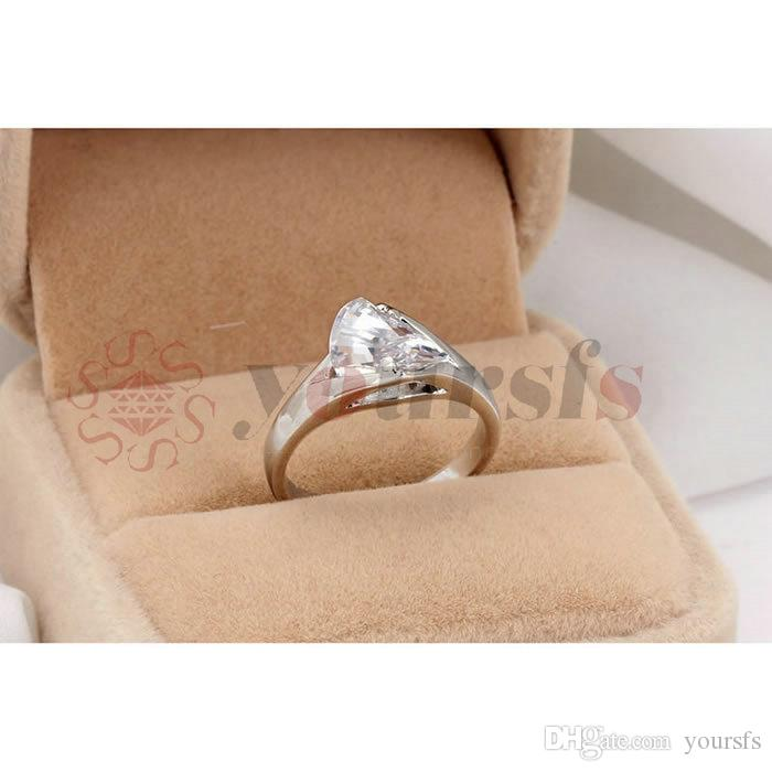 Yoursfs Gold Plating Wedding Rings for Women Crystal Engagement Zircon CZ Ring Anillos