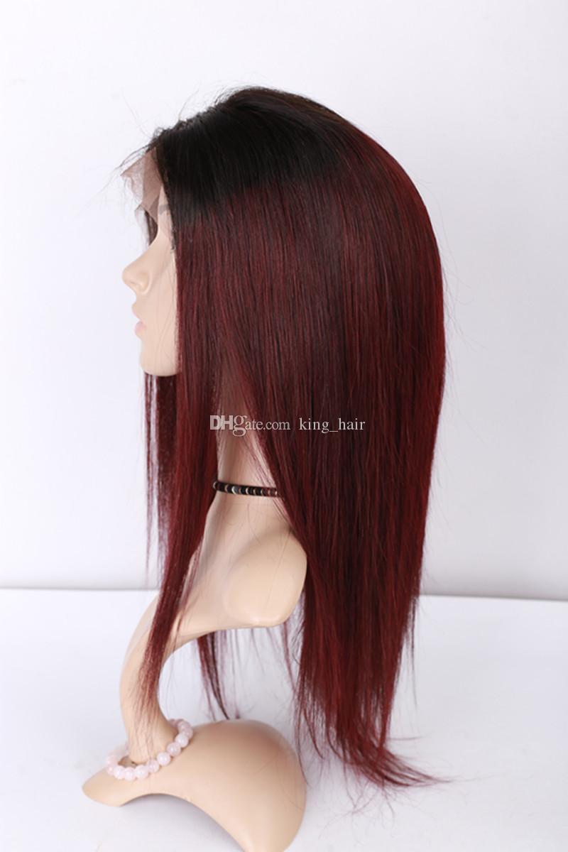 Raiz Escura Peruca Dianteira Do Laço Do Cabelo Virgem # 1B 99j Ombre Cabelo Peruca de seda Em Linha Reta peruca Cheia Do Laço Com cabelo Do Bebê vermelho