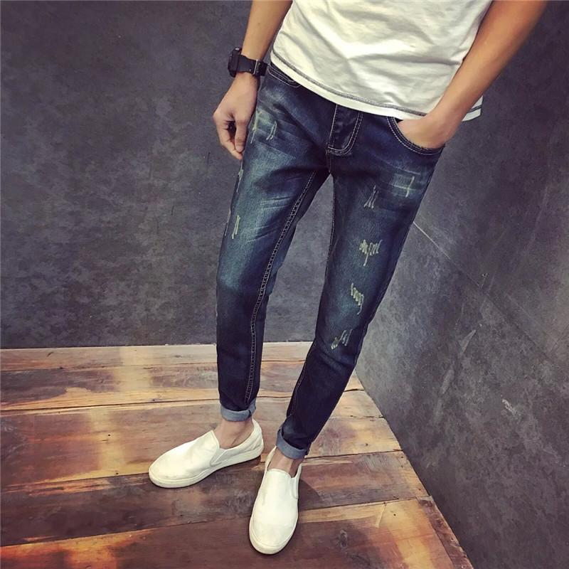 6ad98176d609 2019 Wholesale 2016 Summer Fashion New Style Men S Retro Vintage Scratched  Denim Pants Tide Male Street Wear Slim Fit Casual Jeans Trousers From Freea