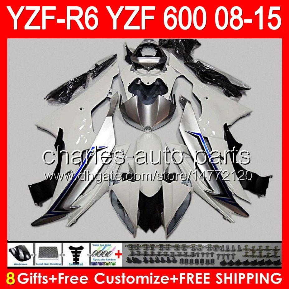 blanco brillante 8gift para YAMAHA YZF R6 08 09 10 11 12 13 15 YZF600 YZF-R6 86NO126 YZFR6 2008 2009 2010 2011 2012 2013 2015 blanco negro
