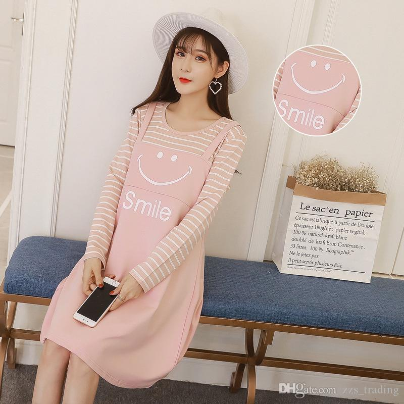 2017 Winter Autumn Stripes Nursing Dress Smiling face pattern Print Maternity Clothes for Pregnant Women Breastfeeding Pregnancy Clothing